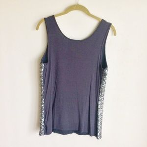 INC International Concepts Tops - INC Be Mystical Gray Silver Sequin Front Top PM
